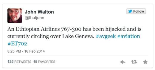 John Walton ET702 initial tweet